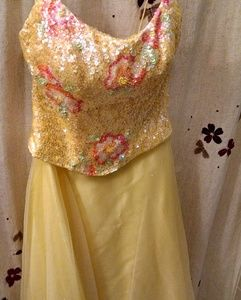 Yellow sequin top prom dress by Mystique